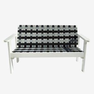 כורסא זוגית רצועות אפור שחור