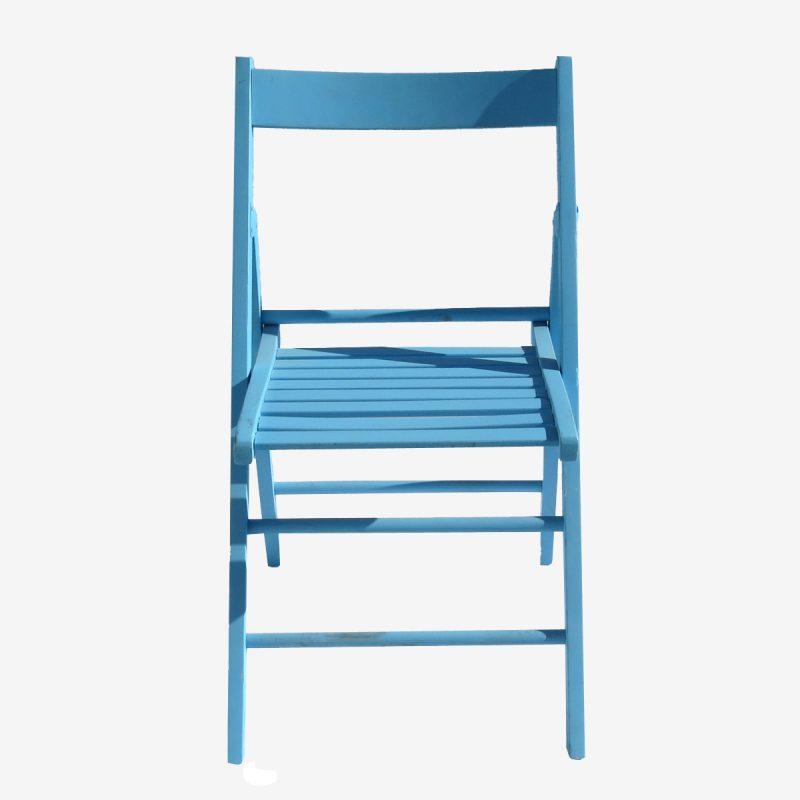 כיסא עץ תכלת ללא ריפוד