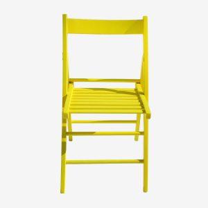 כיסא עץ צבע צהוב