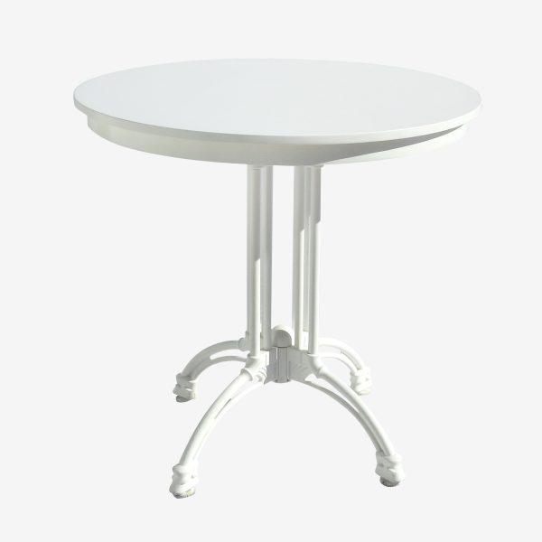 שולחן בית קפה עץ לבן רגל מתכת