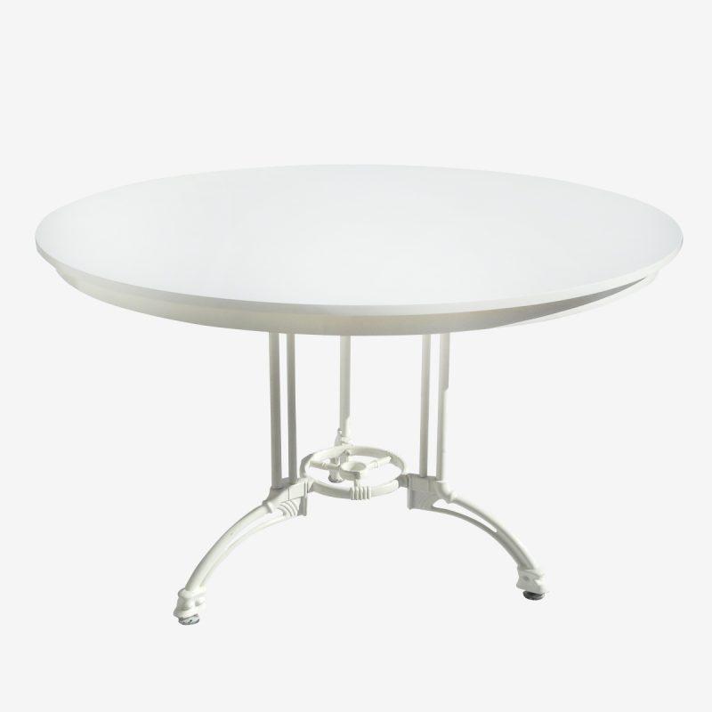 שולחן עגול לבן 1.20 רגל מתכת