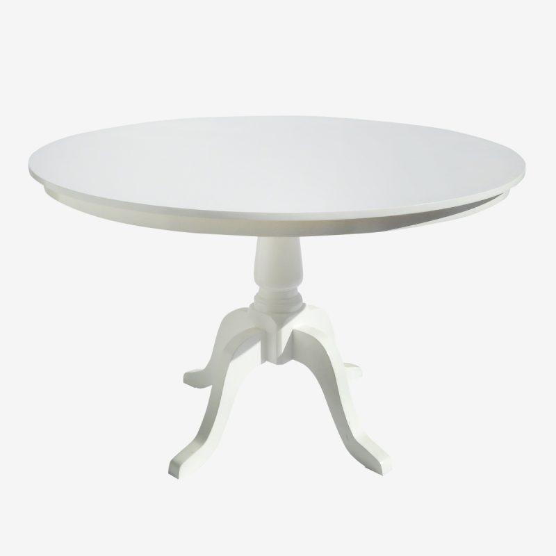 שולחן עגול 1.20 רגל מפוסלת לבן\עץ
