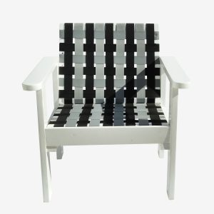 כורסא יחיד רצועות אפור שחור