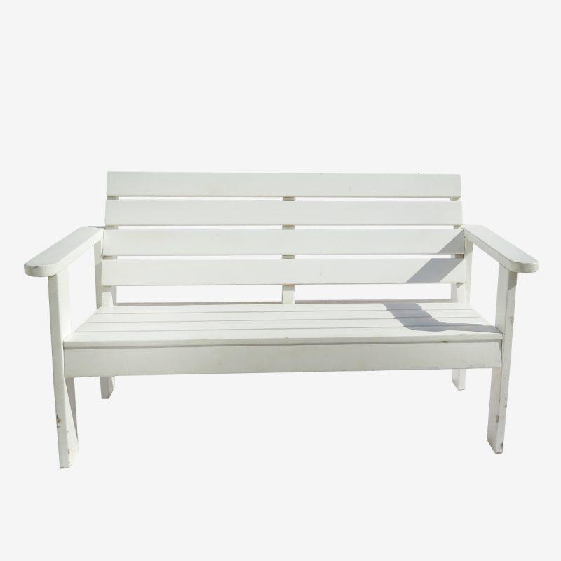ספסל גינה זוגי לבן