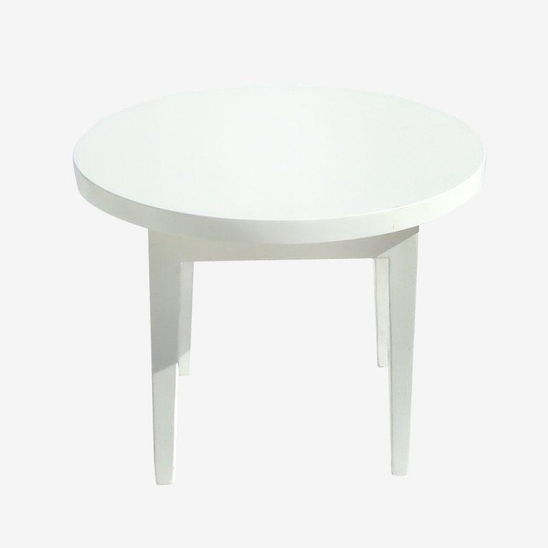 שולחן עגול לבן נמוך