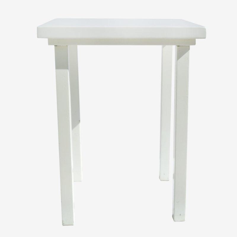 שולחן בר עץ לבן מרובע