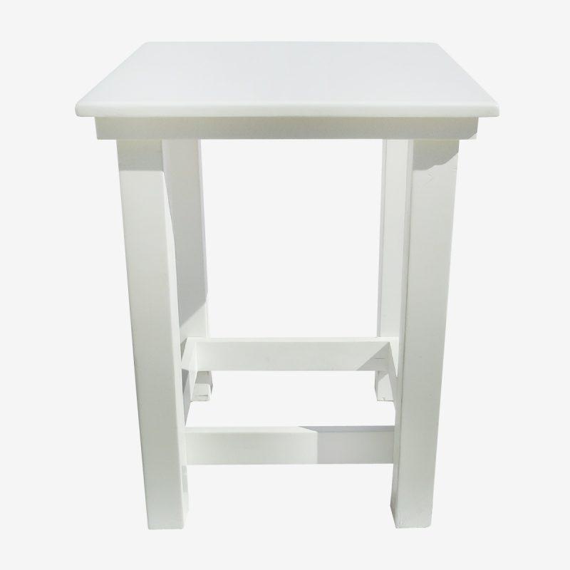 שולחן בר גבוה מרובע לבן קבוע (0.80/0.80) גובה 1.05