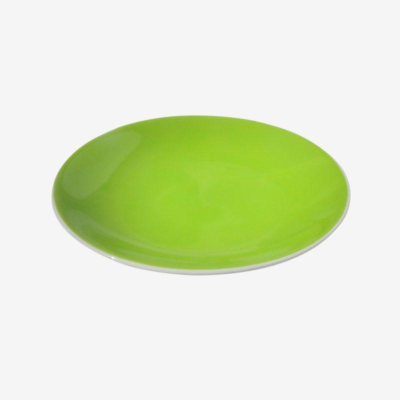 צלחת עגולה ירוקה פורצלן 27