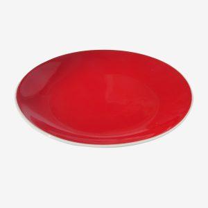 צלחת עגולה אדומה פורצלן 27