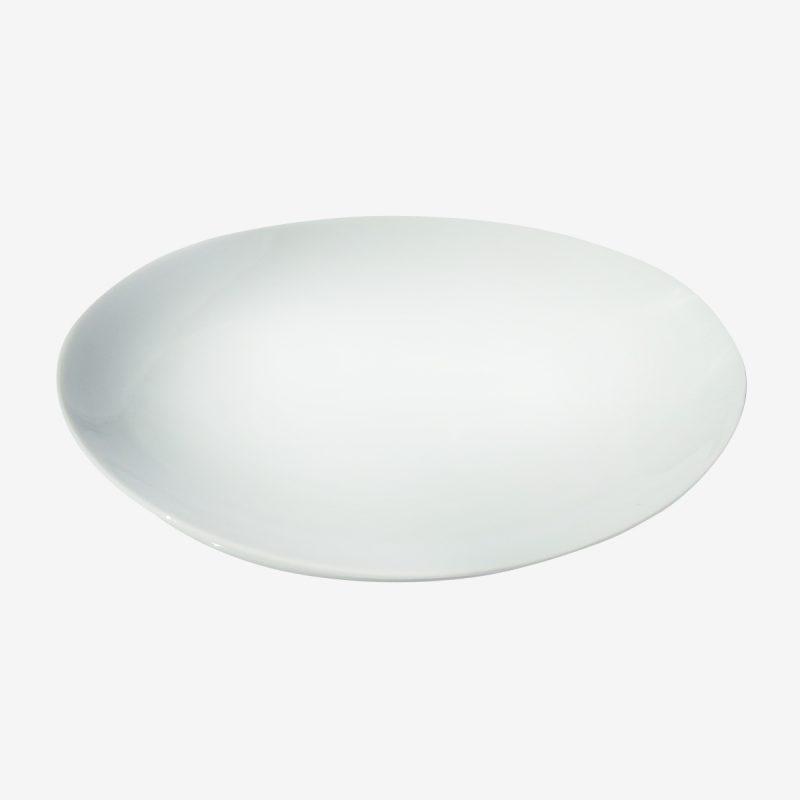 צלחת אובלי ביצה לבנה