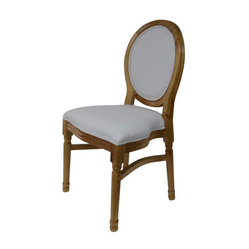 כיסא ונציה עץ ריפוד לבן