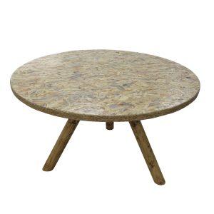 שולחן עגול 1.2, צבע עץ, רגל משולשת