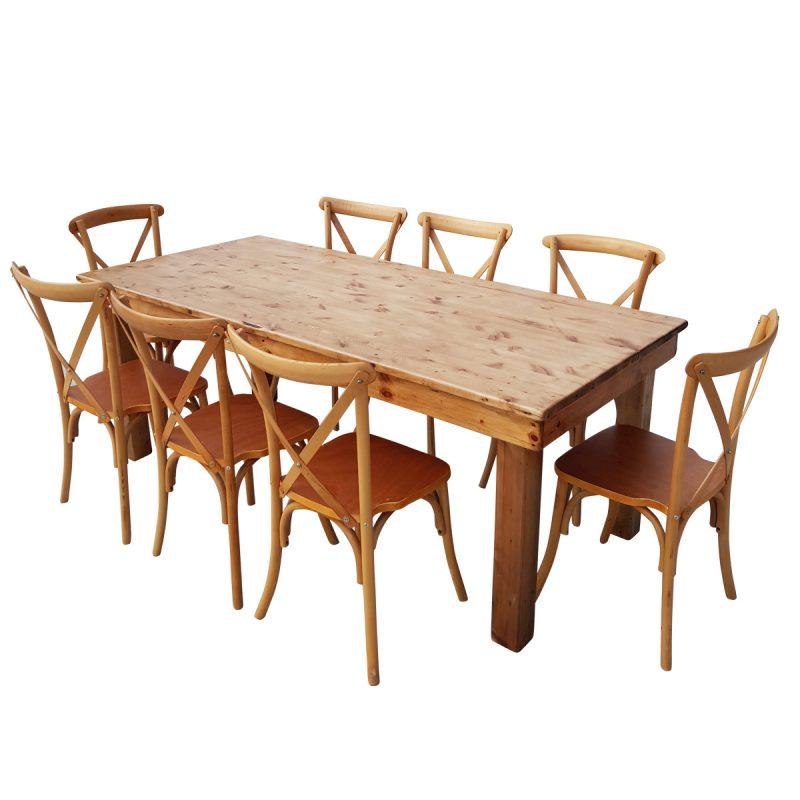 שולחן 2.00*0.90 בגבהים שונים בצבע עץ